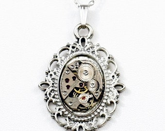 Steampunk Ornate Victorian Frame Silver Necklace with Vintage Watch by Velvet Mechanism