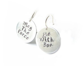 Hand Stamped May The Force Be With You Earrings, Jewelry sterling silver brass copper