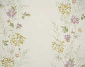 1950's Vintage Wallpaper - Gold and Lavender Watercolor Floral Stripe