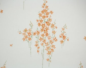 1950s Vintage Wallpaper by the Yard - Floral Wallpaper with Long Stemmed Orange Flowers on White