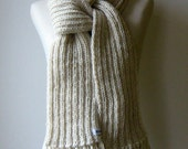 Chunky Scarf Knitted in Natural White Wool