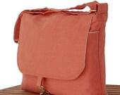 "Women Messenger Bag,  Linen Bag, Orange Messenger Bag, 17"" Laptop Bag, 15"" MacBook, Book Bag"