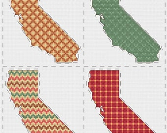 California cross stitch sampler - PDF pattern INSTANT DOWNLOAD