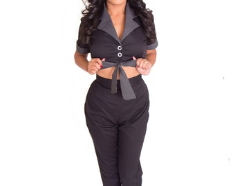 CLEARANCE 60% off!!! Sexy Pinup Greaser Girl coveralls Capri's with peek-a-boo tie front Rockabilly Garage