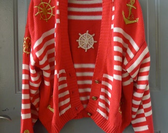 vintage red white nautical striped anchor embroidered cardigan