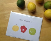 Belated Birthday Apples - Single Stamped Notecard 5x7
