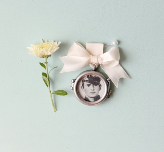 Bridal Bouquet Locket Charm : Remembrance locket bouquet photo charm frame by whichgoose