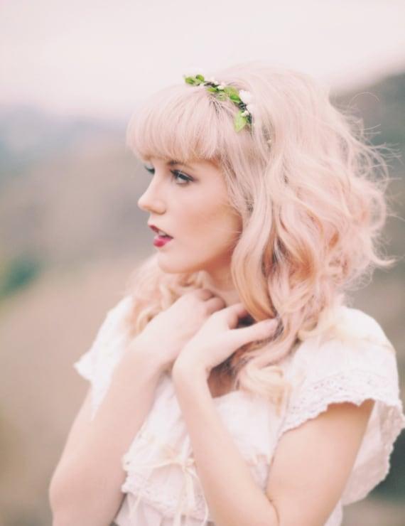 Bridal flower crown, Woodland wedding headpiece, White rose circlet, White rose leaf hair wreath - EVE