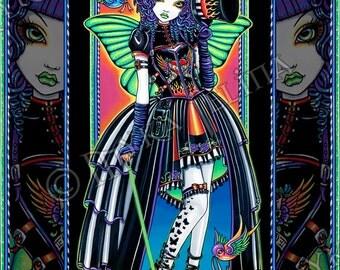 Juxtapose Rainbow Swallow Tattoo Carnival Fairy 8x10 Signed PRINT