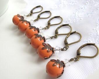 Bridal Wedding Set of 3 Drop Earrings. Orange Coral Swarovski Pearl Crystal Antiqued Brass Nickel Lead Free Earrings
