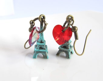 I Love Paris. Vintage style Eiffel Tower Red Hearts Earrings. Patina Verdigris, Swarovski Crystal Hearts Antiqued Brass Ear Jewelry