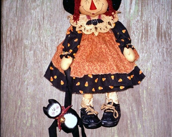 CF110 Annie Boo and Lil Rags -  Witch Cloth Raggedy Doll and Black Cat Sewing PDF ePattern