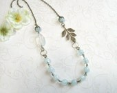 Pale blue necklace, jade beads, vintage style, cottage chic