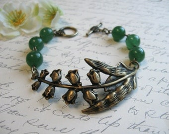 Lily of the valley bracelet, green adventurine stone beads, woodland forest green, nature jewelry