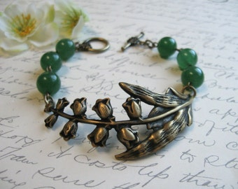 Lily of the valley bracelet, green adventurine stone beads, gift for her, woodland forest green, nature jewelry