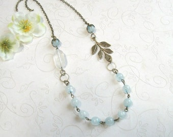 Blue jade necklace, vintage style, cottage chic, gift for her, women's gift, jade beads