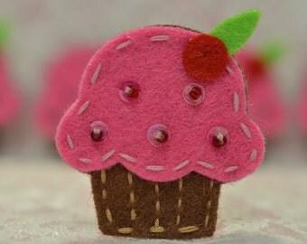 Set of 6pcs handmade felt cupcake--dark carnation (FT009)