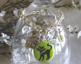 Witch's Familiar Black Cat on Green Charm Drop or Starter Charm Bracelet