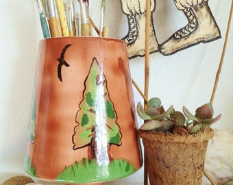 Vintage Handpainted Vase Mid Century Vase with Woodland Forest Trees Folk Art Vase Vintage 1970s Vase Mid Century Vase Brown Tree Container