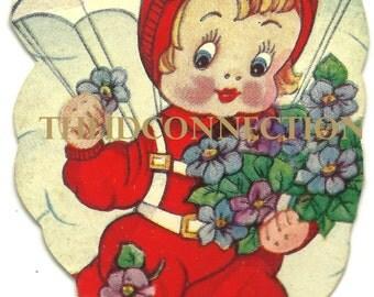 Vintage Valentine Digital Download, Parachute Girl, Airplane, Sweetheart Flowers