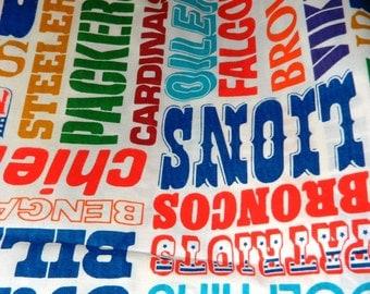 Vintage cotton Professional Football Teams Fabric, Broncos, Falcons, Oilers, Lions, Patriots, Falcons