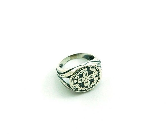 925 Sterling Silver Love Amulet Ring with King Solomon Seal - Men Women Choose Size