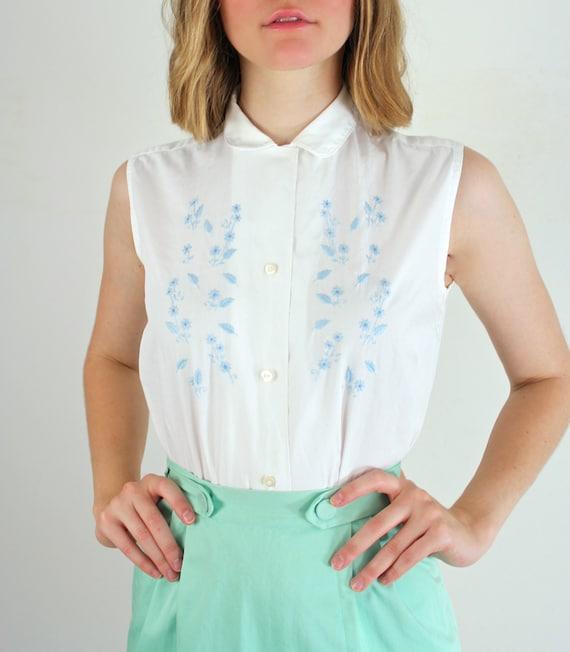 Peter pan collar blouse 1950s white blouse by jessjamesjake for White cotton shirt peter pan collar