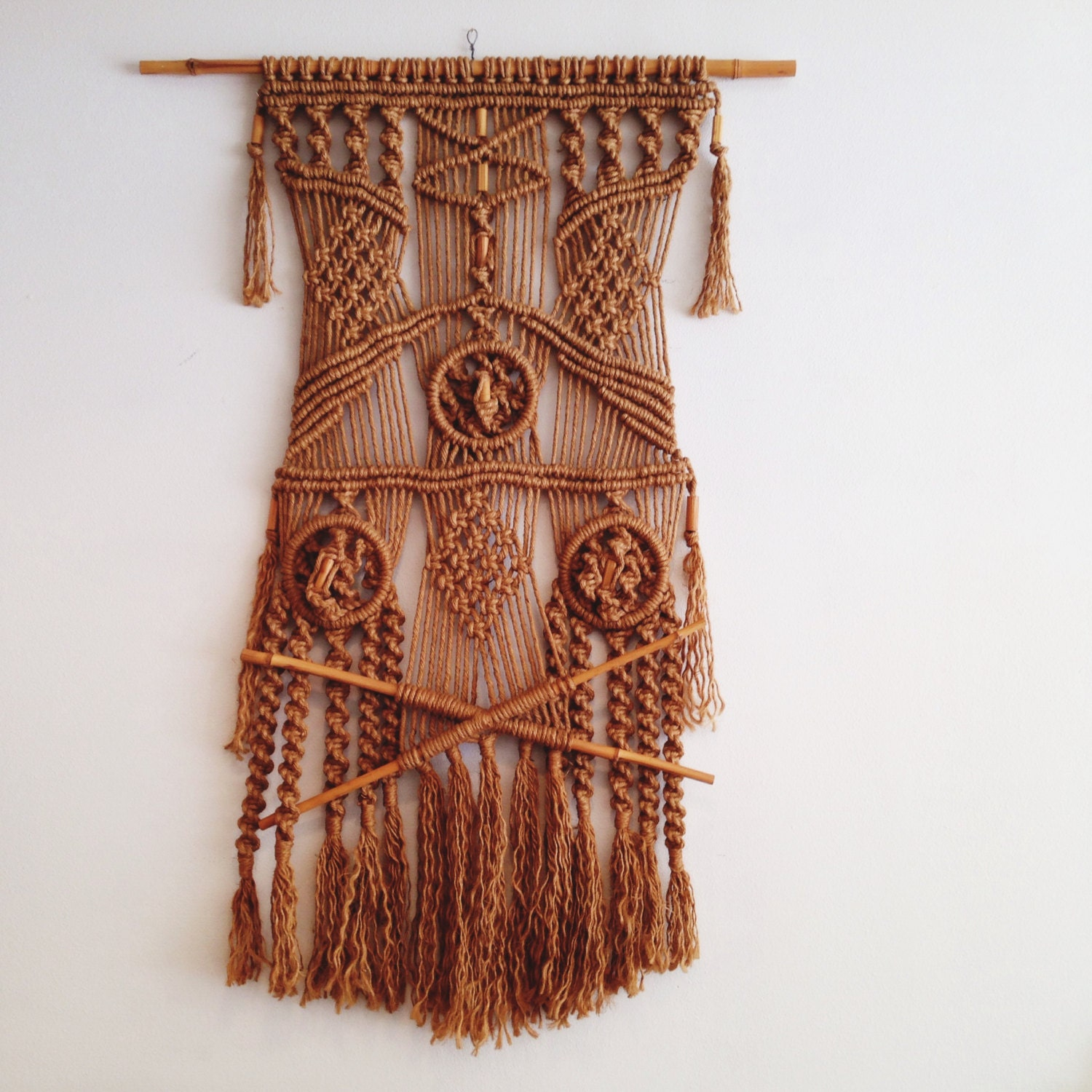 Giant Vintage 1970 S Macrame Wall Hanging Textile Piece