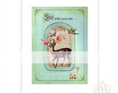 Deer, print, woodland, forest, home decor, vintage style, love who you are, autumn, fall print, green, red rose, antlers, affirmation