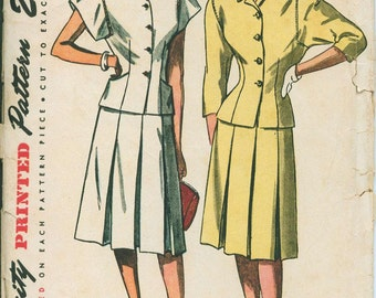 1940s Simplicity 1655 Deco Skirt Suite Sewing Pattern Vintage Size 14