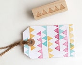 Triangle Banner Rubber Stamp (Wood Mounted) Abstract Geometric Design w optional wooden handle, Petites Collection (SP502) Scrapbooking DIY