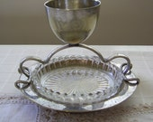 Silver Plated Egg Cup with Pressed Glass Spoon Holder