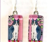 Whimsical Cat Art Earrings/ Gray Tuxedo Cat Glass Jewelry by Susan Faye