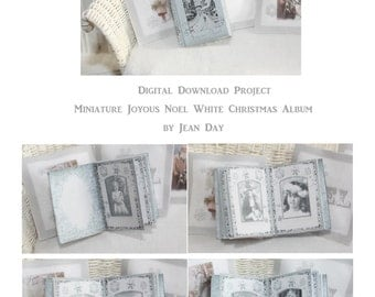 Joyous Noel White Christmas Photo Album 1:12 scale book Printable Project, Dollhouse Miniature Instant Download  DH012