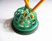 Vintage Flower Frog Small Dome Shape - Pencil Holder - Green Plastic