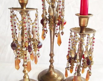 Vintage Brass Candlesticks - Beaded Bohemian Cluster of 3 - Red and Yellow Glass Prisms and Beads
