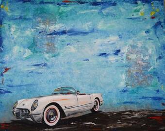 White 1954 Chevrolet Corvette Roadster Original Painting, men, gift, present