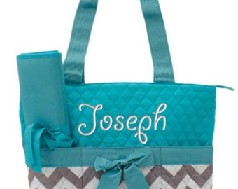 Personalized Diaper Bag Chevron Gray Aqua Quilted Monogrammed