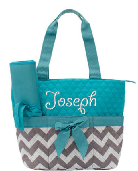 personalized diaper bag chevron gray aqua quilted monogrammed. Black Bedroom Furniture Sets. Home Design Ideas