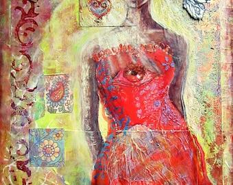 "Soul Portrait Painting, Mixed Media, ""My Own Voice"", Original Artwork, Spiritual, Feminism, Awakening,  12x16"""