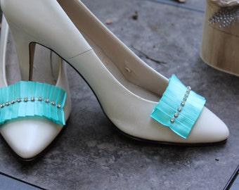 Tiffany, Aqua Blue Rhinestone, shoe clips, a something blue for your big day...