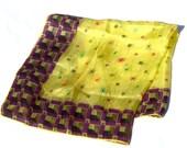 Vintage ART DECO Silk Scarf Foulard Optical Starburst