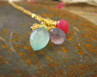 Necklace 16 k gold plated chalcedony briolettes, gemstone necklace, bridesmaid gift, wedding