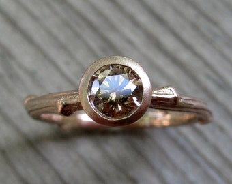 Cognac Diamond Twig Engagement Ring: Rose, White, or Yellow Gold; .50ct