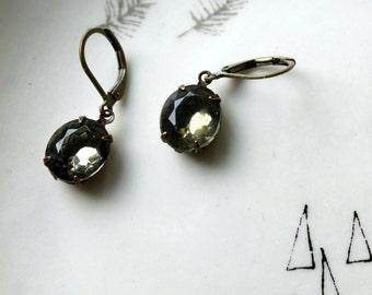 Black Diamond Jewel Earrings / Vintage Glass Jewels / Vintage Jewelry / Smokey Grey / Grey Victorian Earrings