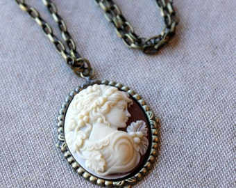 Brown Cameo Necklace, Victorian, Antiqued Brass Chain, Pendant, Cream and Brown, Rust Brown. Autumn