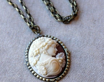 Victorian Cameo Necklace / Victorian Antiqued Brass Chain / Cameo Pendant /Cream and Brown /Rust Brown Autumn