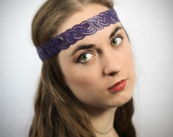 Celtic Knot Headwreath in Purple Leather