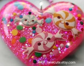 Glitter Heart, Resin Jewelry, Kawaii Candy Pendant Necklace, Sugarplum Dreams, Heart Pendant Pink Sugar Sparkles, Handcrafted by isewcute
