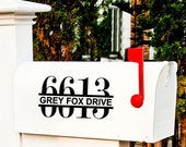 One Outdoor Mailbox Vinyl Decal with Street Address and Numbers